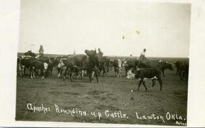 Primary view of object titled 'Kiowa Apaches Rounding Up Cattle'.