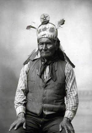 Primary view of object titled 'Geronimo Wearing Famous War Bonnet'.