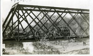 Primary view of object titled 'Motorized Artillery Crossing Bridge'.