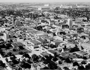 Primary view of object titled 'Aerial view of downtown Enid'.