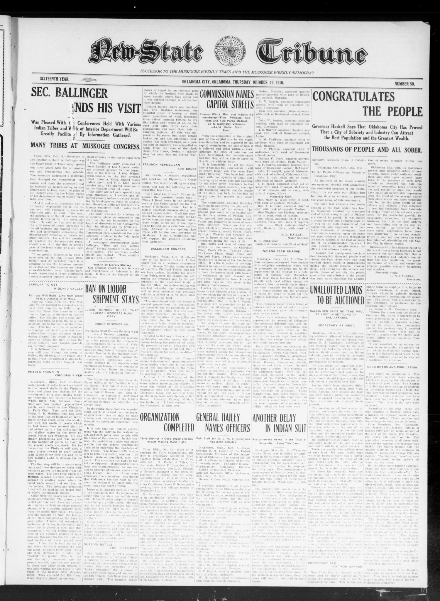 New-State Tribune (Oklahoma City, Okla.), Vol. 16, No. 50, Ed. 1 Thursday, October 13, 1910                                                                                                      [Sequence #]: 1 of 8