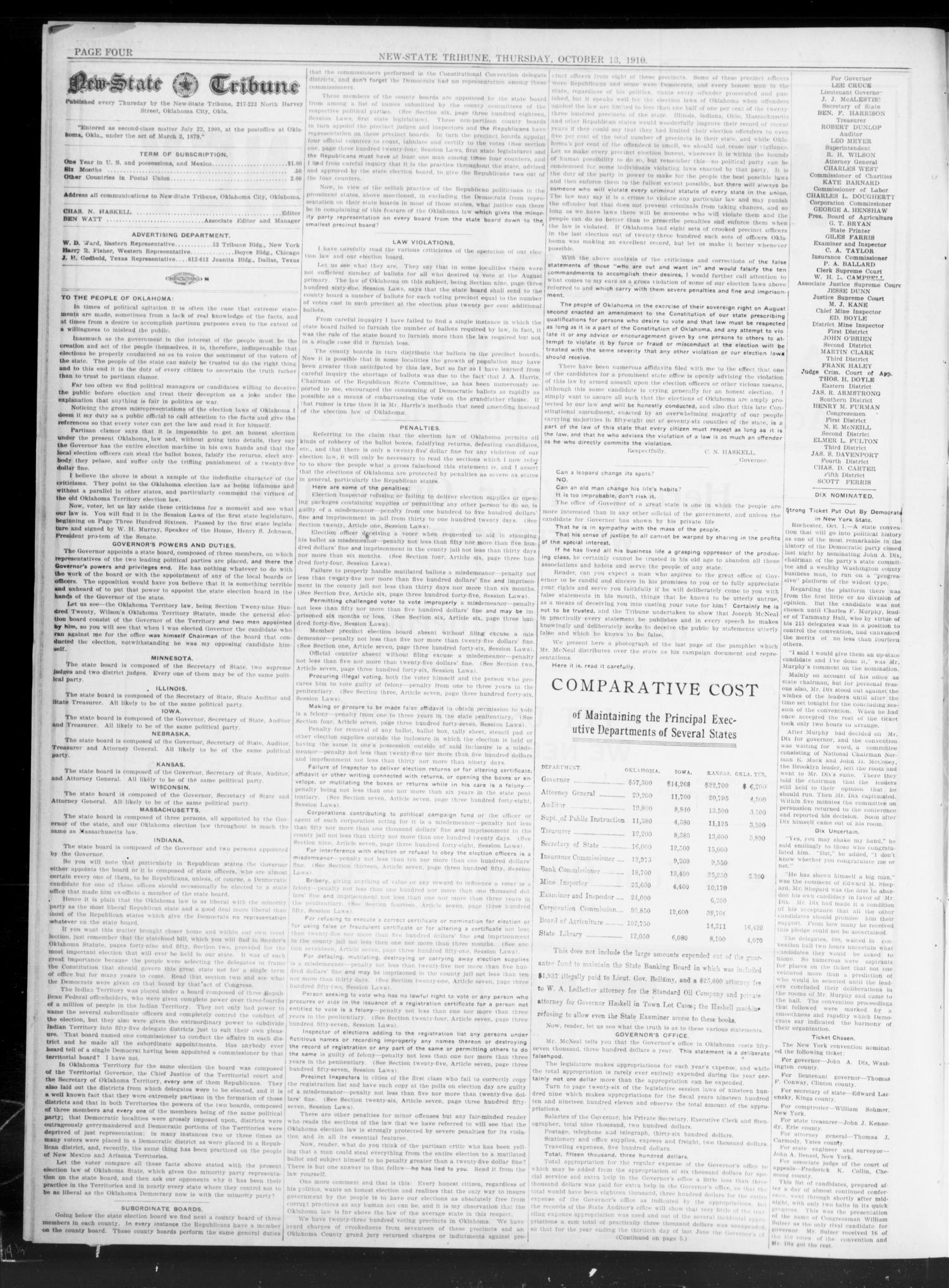 New-State Tribune (Oklahoma City, Okla.), Vol. 16, No. 50, Ed. 1 Thursday, October 13, 1910                                                                                                      [Sequence #]: 4 of 8