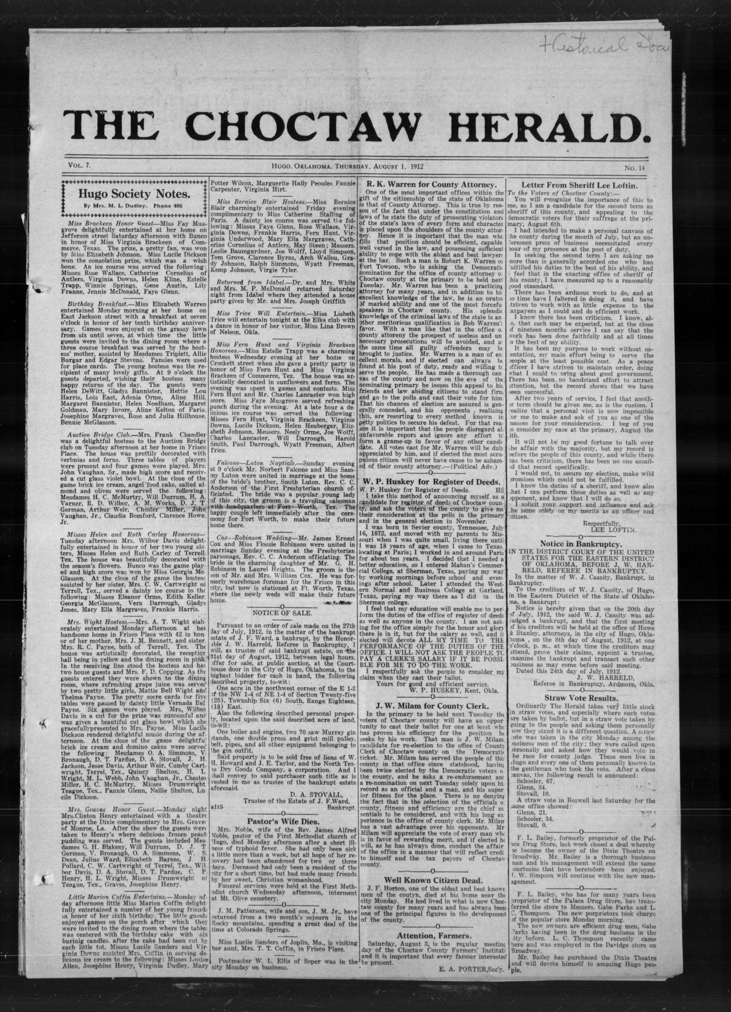 The Choctaw Herald. (Hugo, Okla.), Vol. 7, No. 14, Ed. 1 Thursday, August 1, 1912                                                                                                      [Sequence #]: 1 of 4