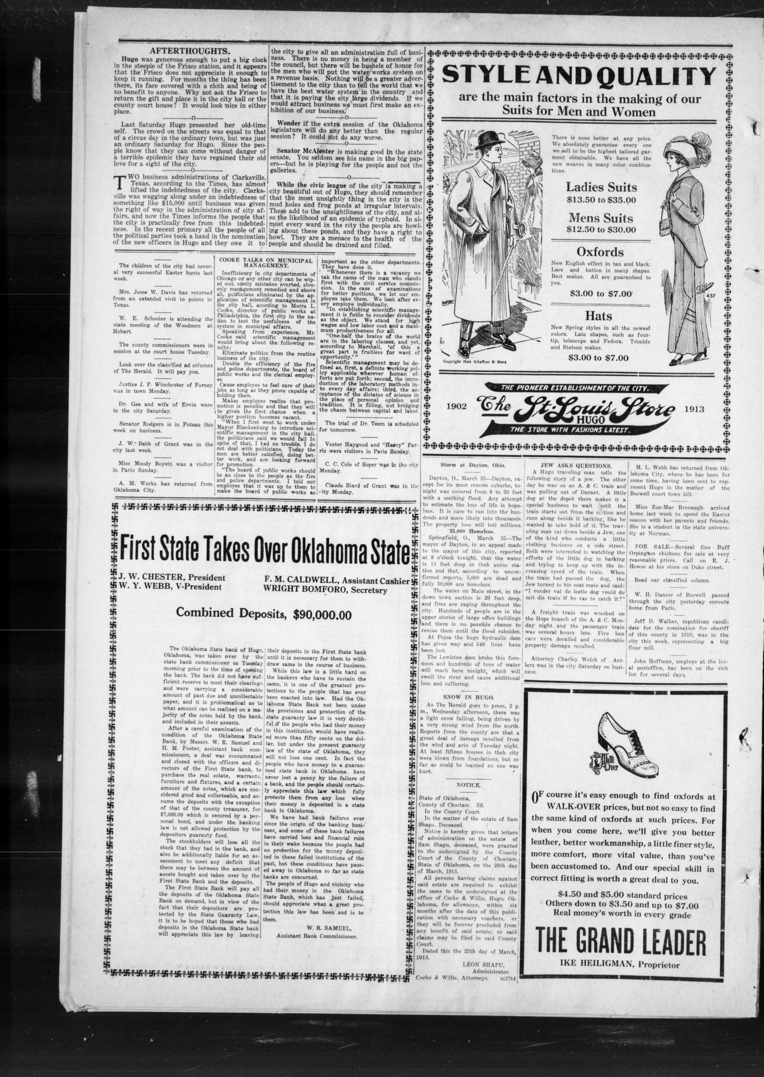The Choctaw Herald. (Hugo, Okla.), Vol. 7, No. 47, Ed. 1 Thursday, March 27, 1913                                                                                                      [Sequence #]: 4 of 4