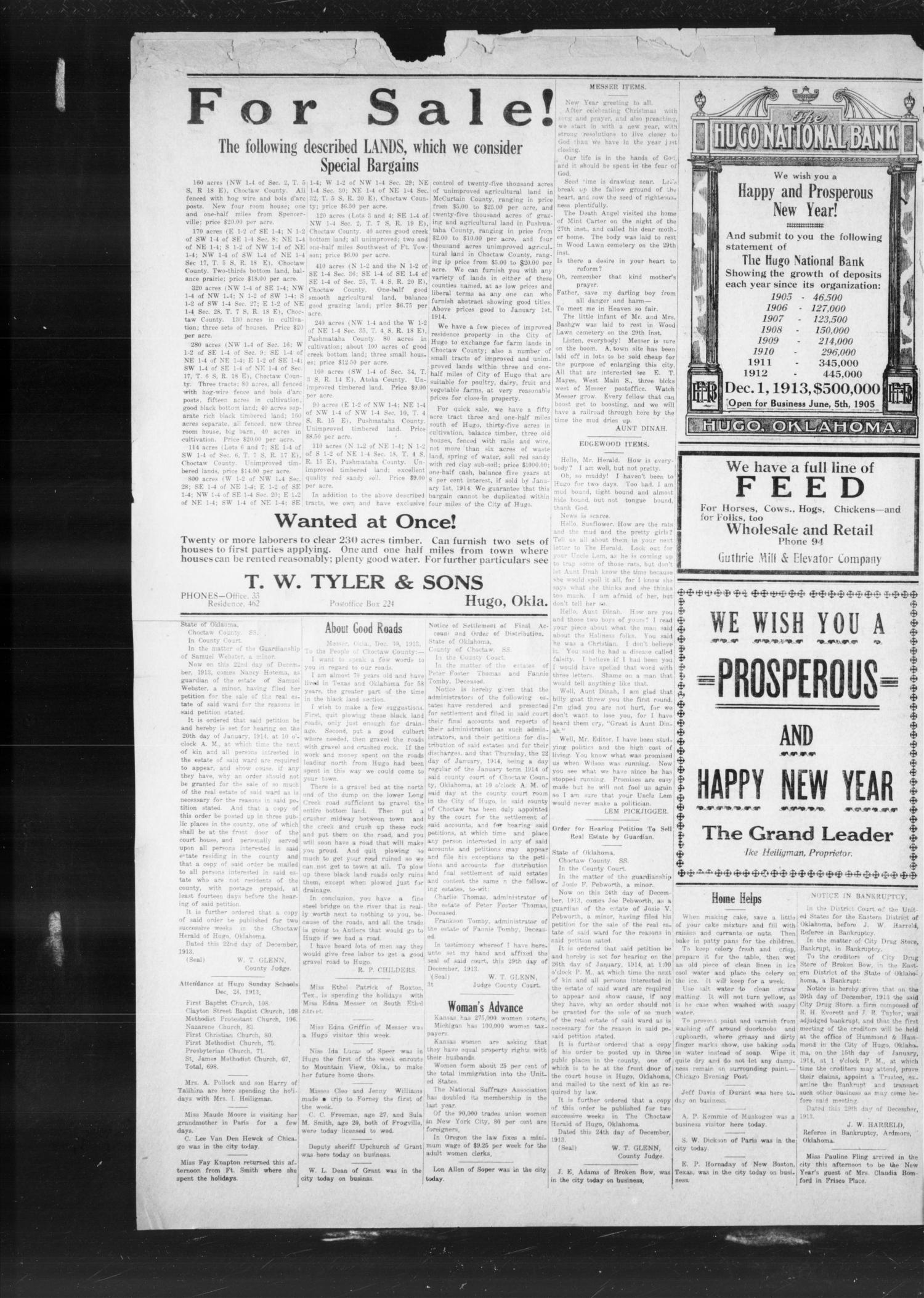 The Choctaw Herald. (Hugo, Okla.), Vol. 8, No. 40, Ed. 1 Thursday, January 1, 1914                                                                                                      [Sequence #]: 4 of 4