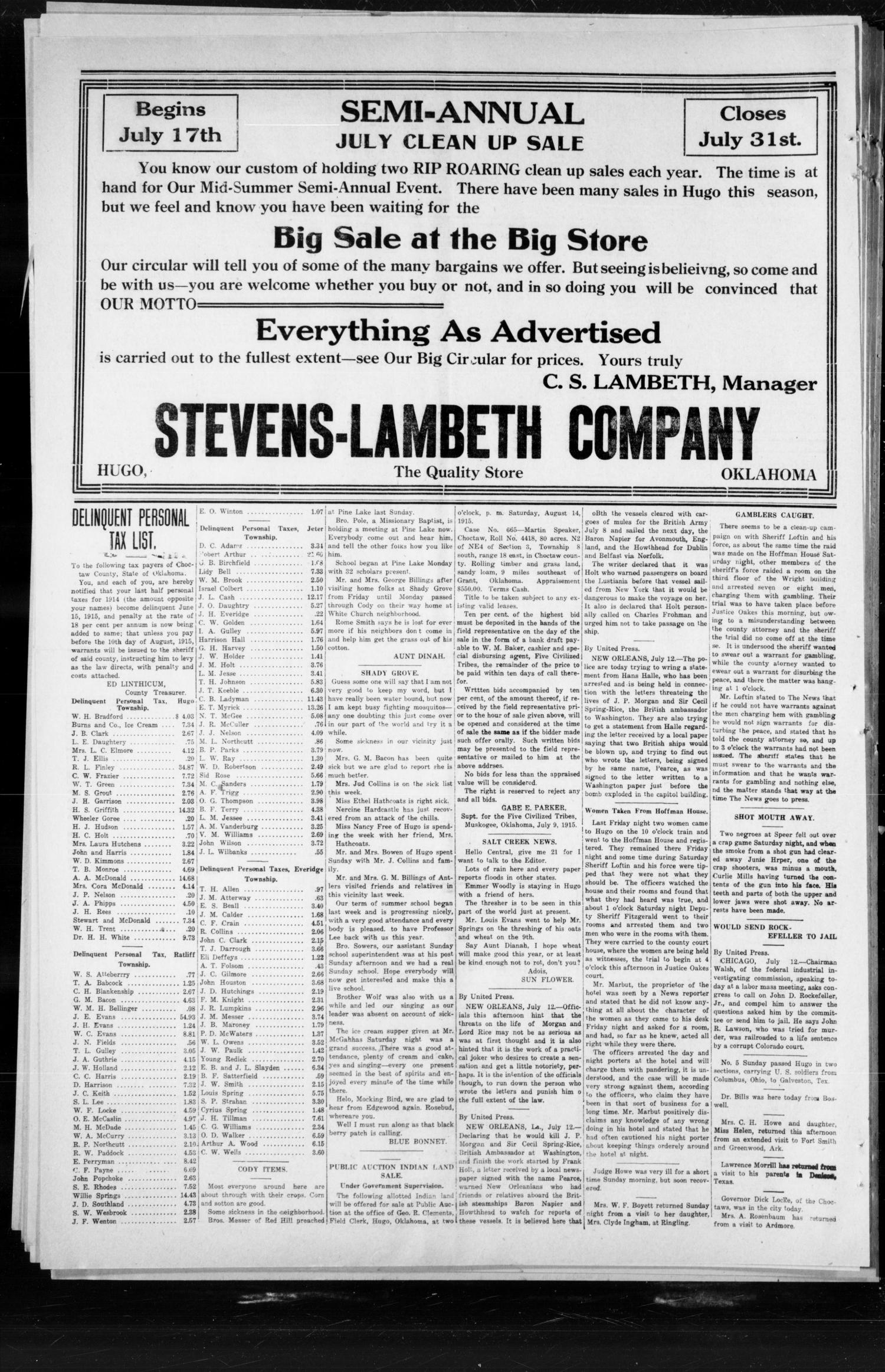 The Choctaw Herald. (Hugo, Okla.), Vol. 9, No. 49, Ed. 1 Thursday, July 15, 1915                                                                                                      [Sequence #]: 4 of 4
