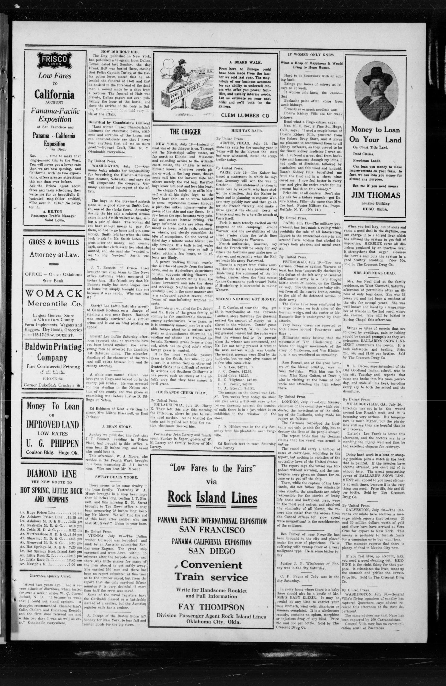 The Choctaw Herald. (Hugo, Okla.), Vol. 9, No. 218, Ed. 1 Thursday, July 22, 1915                                                                                                      [Sequence #]: 3 of 4