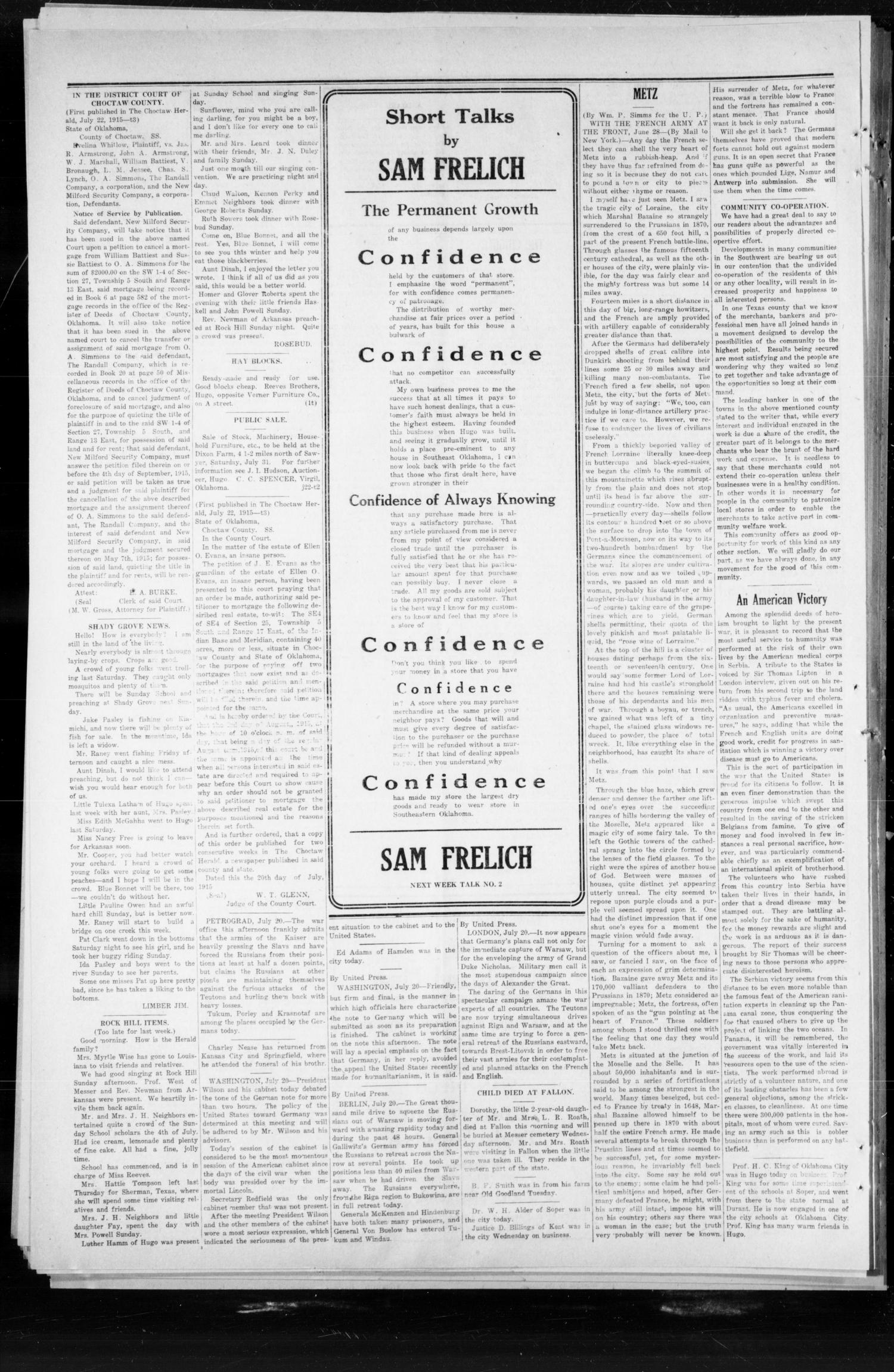 The Choctaw Herald. (Hugo, Okla.), Vol. 9, No. 218, Ed. 1 Thursday, July 22, 1915                                                                                                      [Sequence #]: 4 of 4