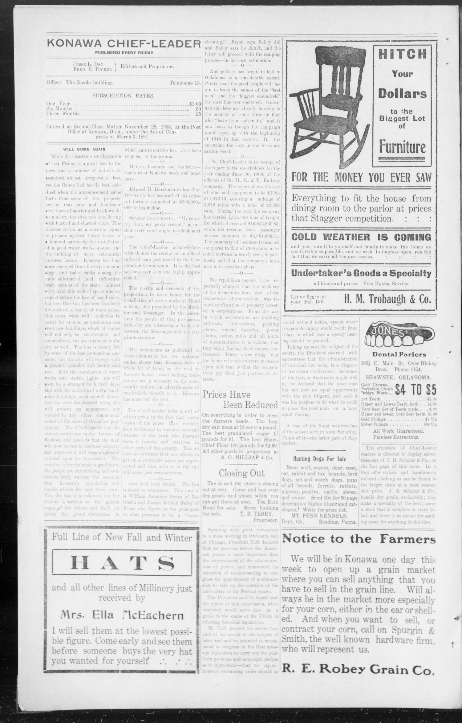 The Konawa Chief-Leader. (Konawa, Okla.), Vol. 4, No. 37, Ed. 1 Friday, September 3, 1909                                                                                                      [Sequence #]: 4 of 8