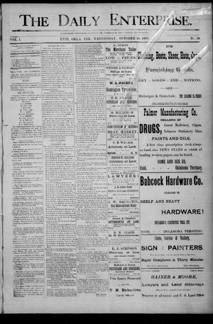 Primary view of object titled 'The Daily Enterprise. (Enid, Okla. Terr.), Vol. 1, No. 26, Ed. 1 Wednesday, October 18, 1893'.