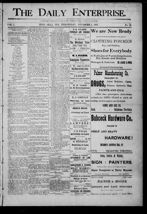 Primary view of object titled 'The Daily Enterprise. (Enid, Okla. Terr.), Vol. 1, No. 38, Ed. 1 Wednesday, November 1, 1893'.