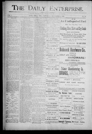 Primary view of object titled 'The Daily Enterprise. (Enid, Okla. Terr.), Vol. 1, No. 64, Ed. 1 Saturday, December 2, 1893'.