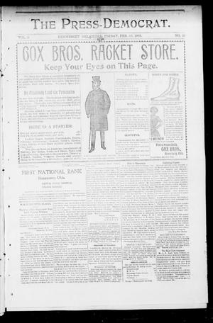 Primary view of object titled 'The Press-Democrat. (Hennessey, Okla.), Vol. 9, No. 21, Ed. 1 Friday, February 22, 1901'.