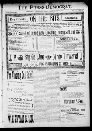 Primary view of object titled 'The Press-Democrat. (Hennessey, Okla.), Vol. 10, No. 22, Ed. 1 Friday, February 28, 1902'.