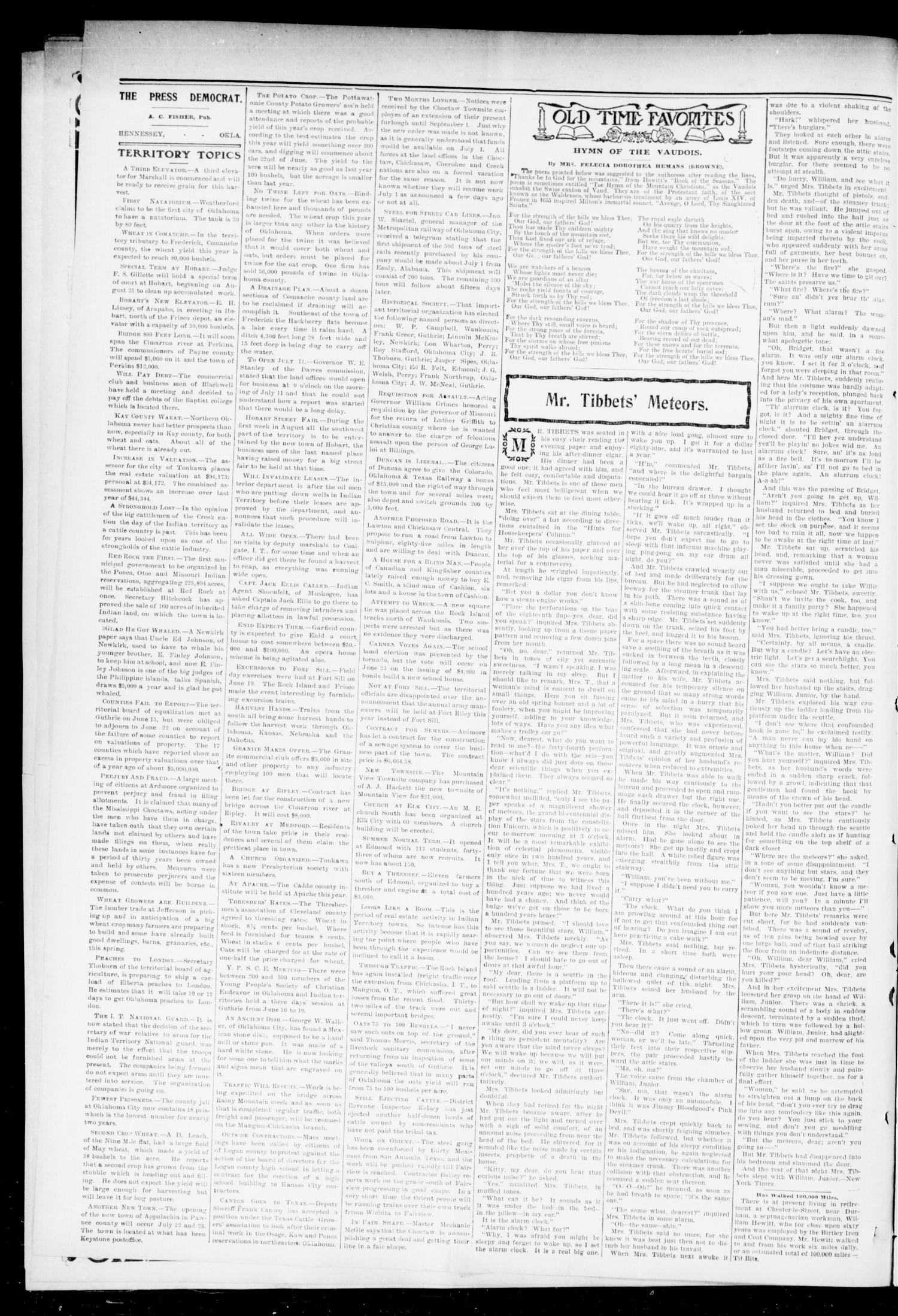The Press-Democrat. (Hennessey, Okla.), Vol. 11, No. 39, Ed. 1 Friday, June 26, 1903                                                                                                      [Sequence #]: 2 of 8