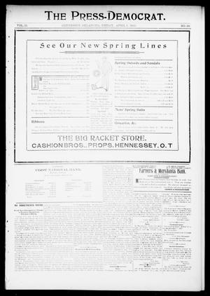 Primary view of object titled 'The Press-Democrat. (Hennessey, Okla.), Vol. 13, No. 28, Ed. 1 Friday, April 7, 1905'.
