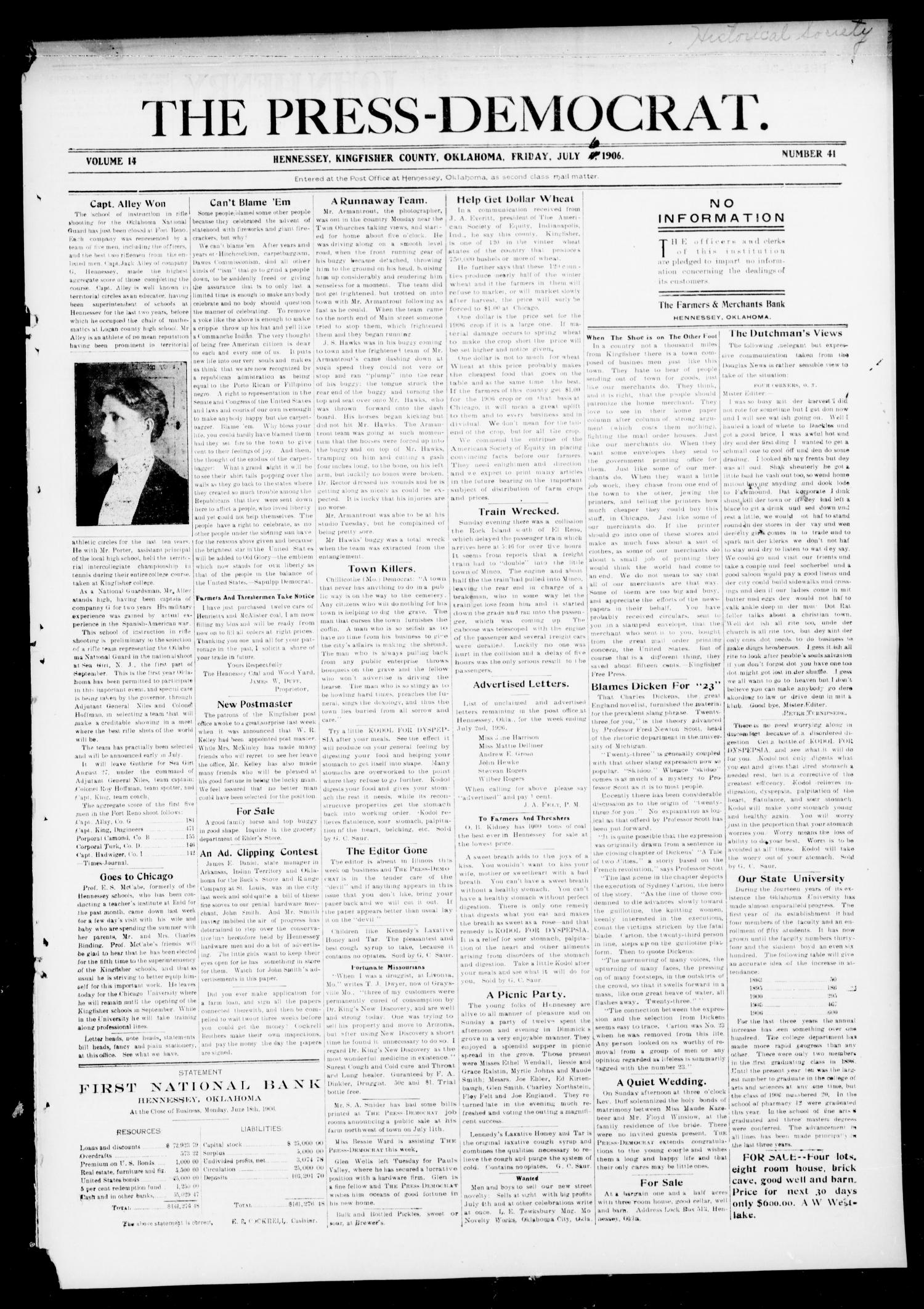 The Press-Democrat. (Hennessey, Okla.), Vol. 14, No. 41, Ed. 1 Friday, July 6, 1906                                                                                                      [Sequence #]: 1 of 8