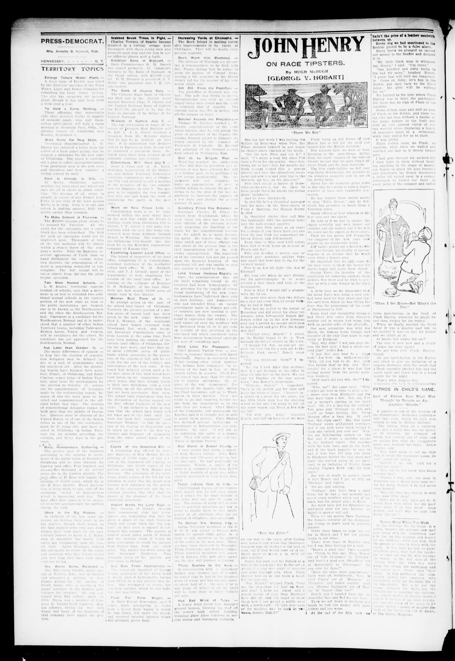 The Press-Democrat. (Hennessey, Okla.), Vol. 14, No. 41, Ed. 1 Friday, July 6, 1906                                                                                                      [Sequence #]: 2 of 8