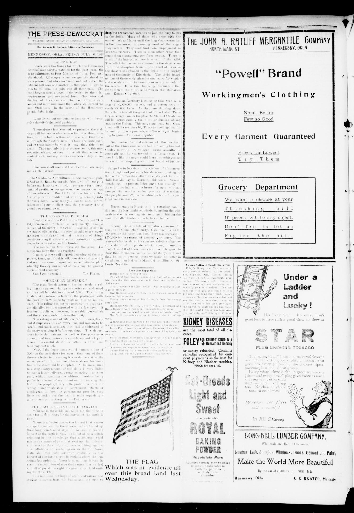 The Press-Democrat. (Hennessey, Okla.), Vol. 14, No. 41, Ed. 1 Friday, July 6, 1906                                                                                                      [Sequence #]: 4 of 8