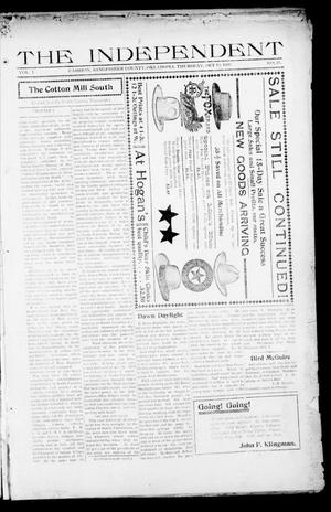 Primary view of object titled 'The Independent (Cashion, Okla.), Vol. 1, No. 23, Ed. 1 Thursday, October 15, 1908'.