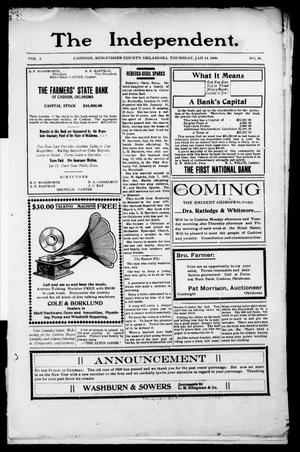 Primary view of object titled 'The Independent. (Cashion, Okla.), Vol. 1, No. 36, Ed. 1 Thursday, January 14, 1909'.