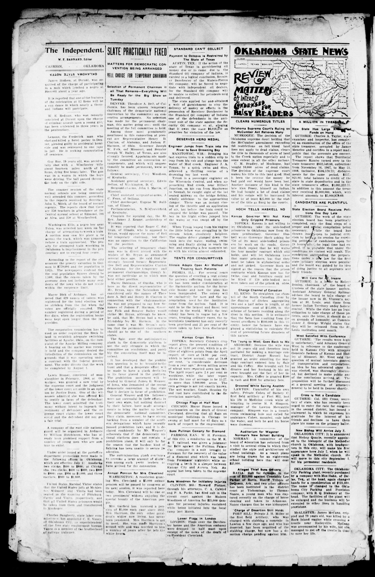The Independent. (Cashion, Okla.), Vol. 1, No. 40, Ed. 1 Thursday, February 11, 1909                                                                                                      [Sequence #]: 2 of 8