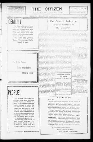 Primary view of object titled 'The Citizen. (Cashion, Okla.), Vol. 1, No. 2, Ed. 1 Thursday, April 29, 1909'.
