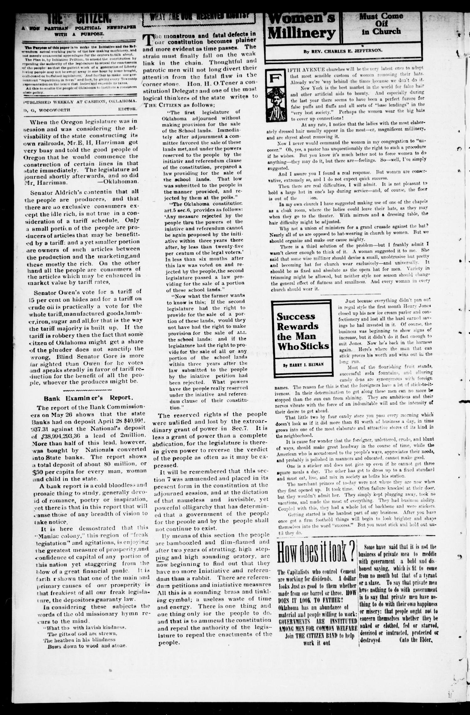The Citizen. (Cashion, Okla.), Vol. 1, No. 6, Ed. 1 Friday, May 28, 1909                                                                                                      [Sequence #]: 4 of 8