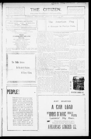 Primary view of object titled 'The Citizen. (Cashion, Okla.), Vol. 1, No. 12, Ed. 1 Friday, July 9, 1909'.