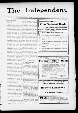 Primary view of object titled 'The Independent. (Cashion, Okla.), Vol. 2, No. 24, Ed. 1 Thursday, October 21, 1909'.