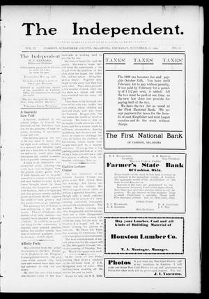 Primary view of object titled 'The Independent. (Cashion, Okla.), Vol. 2, No. 28, Ed. 1 Thursday, November 18, 1909'.