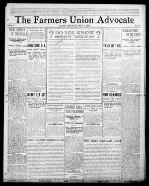 Primary view of object titled 'The Farmers Union Advocate (Guthrie, Okla.), Vol. 5, No. 16, Ed. 1 Thursday, May 5, 1910'.