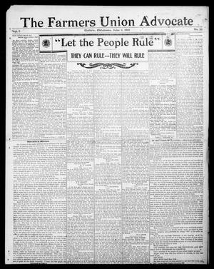 Primary view of object titled 'The Farmers Union Advocate (Guthrie, Okla.), Vol. 5, No. 20, Ed. 1 Thursday, June 2, 1910'.