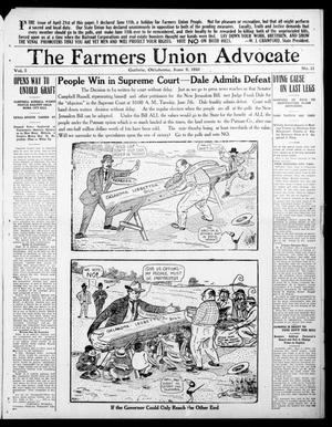 Primary view of object titled 'The Farmers Union Advocate (Guthrie, Okla.), Vol. 5, No. 21, Ed. 1 Thursday, June 9, 1910'.