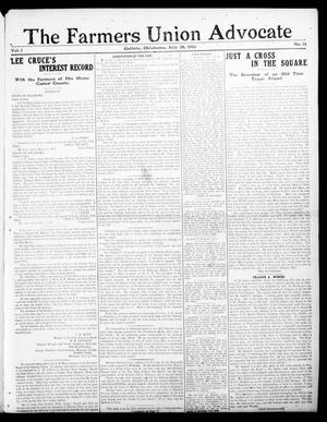 Primary view of object titled 'The Farmers Union Advocate (Guthrie, Okla.), Vol. 1, No. 14, Ed. 1 Thursday, July 28, 1910'.