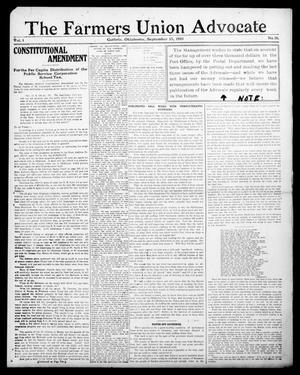 Primary view of object titled 'The Farmers Union Advocate (Guthrie, Okla.), Vol. 1, No. 16, Ed. 1 Thursday, September 15, 1910'.