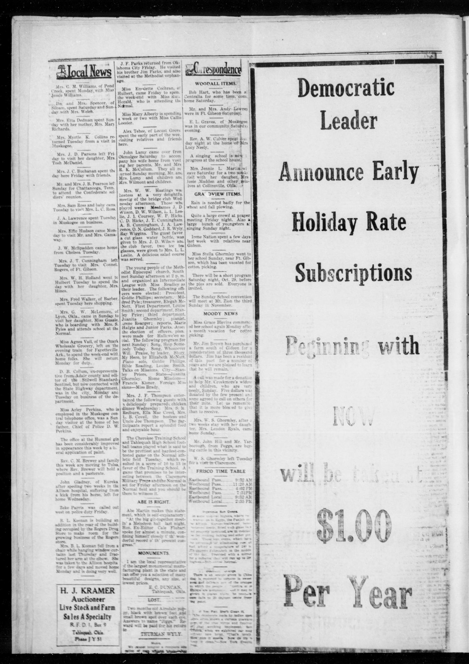 Democratic Leader (Tahlequah, Okla.), Vol. 1, No. 23, Ed. 1 Thursday, October 27, 1921                                                                                                      [Sequence #]: 4 of 4