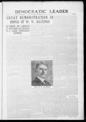 Primary view of object titled 'Democratic Leader (Tahlequah, Okla.), Vol. 2, No. 3, Ed. 1 Thursday, June 8, 1922'.