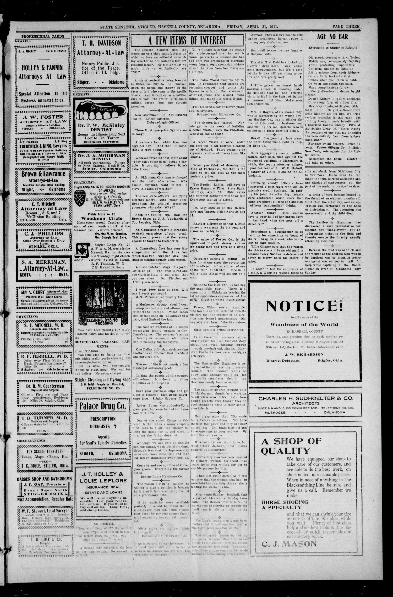 State Sentinel (Stigler, Okla.), Vol. 6, No. 6, Ed. 1 Friday, April 21, 1911                                                                                                      [Sequence #]: 3 of 8