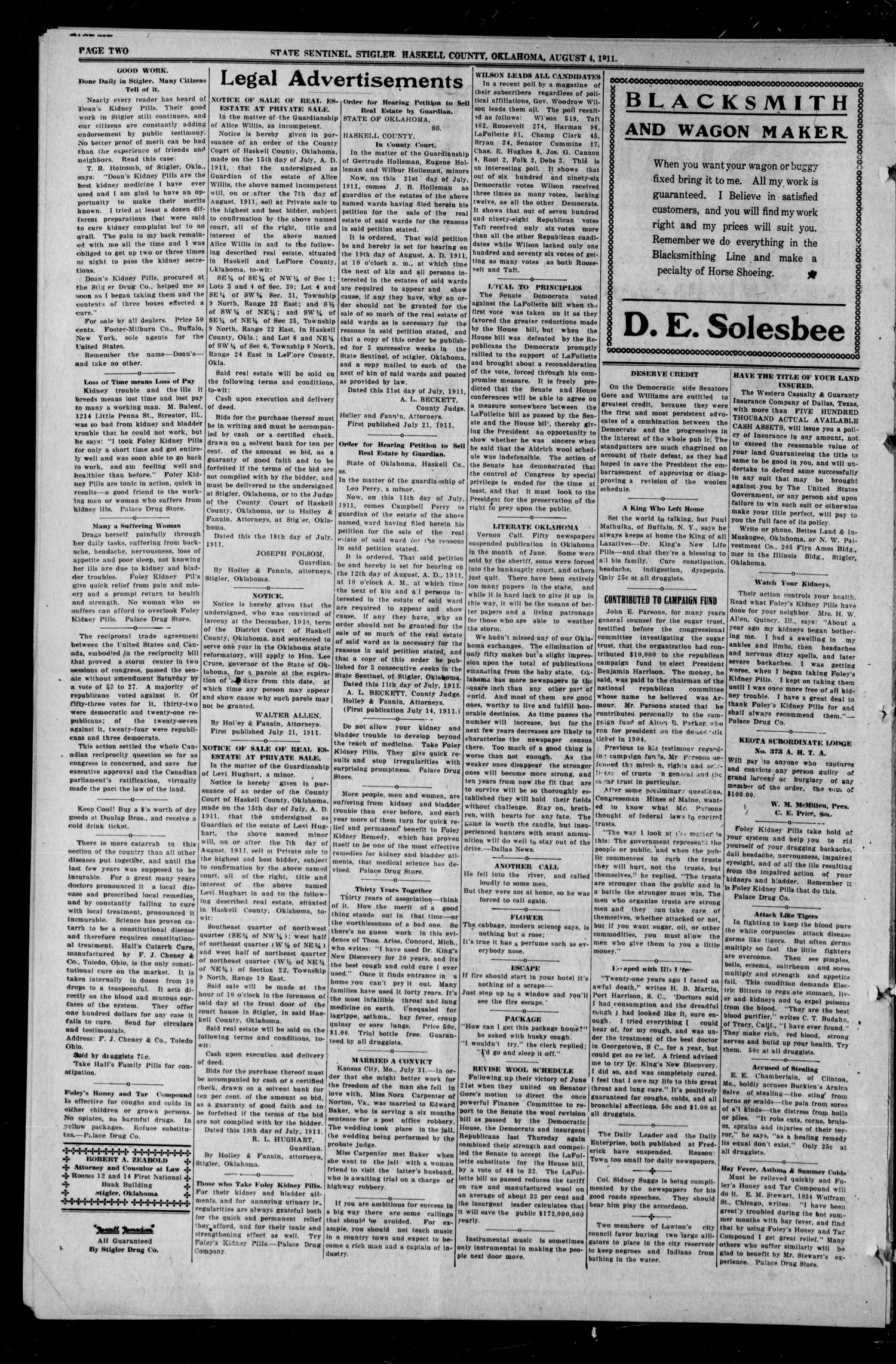 State Sentinel (Stigler, Okla.), Vol. 6, No. 21, Ed. 1 Friday, August 4, 1911                                                                                                      [Sequence #]: 2 of 8