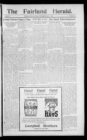 Primary view of object titled 'The Fairland Herald. (Fairland, Okla.), Vol. 1, No. 5, Ed. 1 Friday, May 2, 1913'.