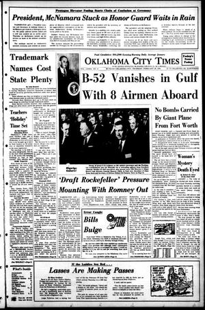 Primary view of object titled 'Oklahoma City Times (Oklahoma City, Okla.), Vol. 78, No. 322, Ed. 1 Thursday, February 29, 1968'.