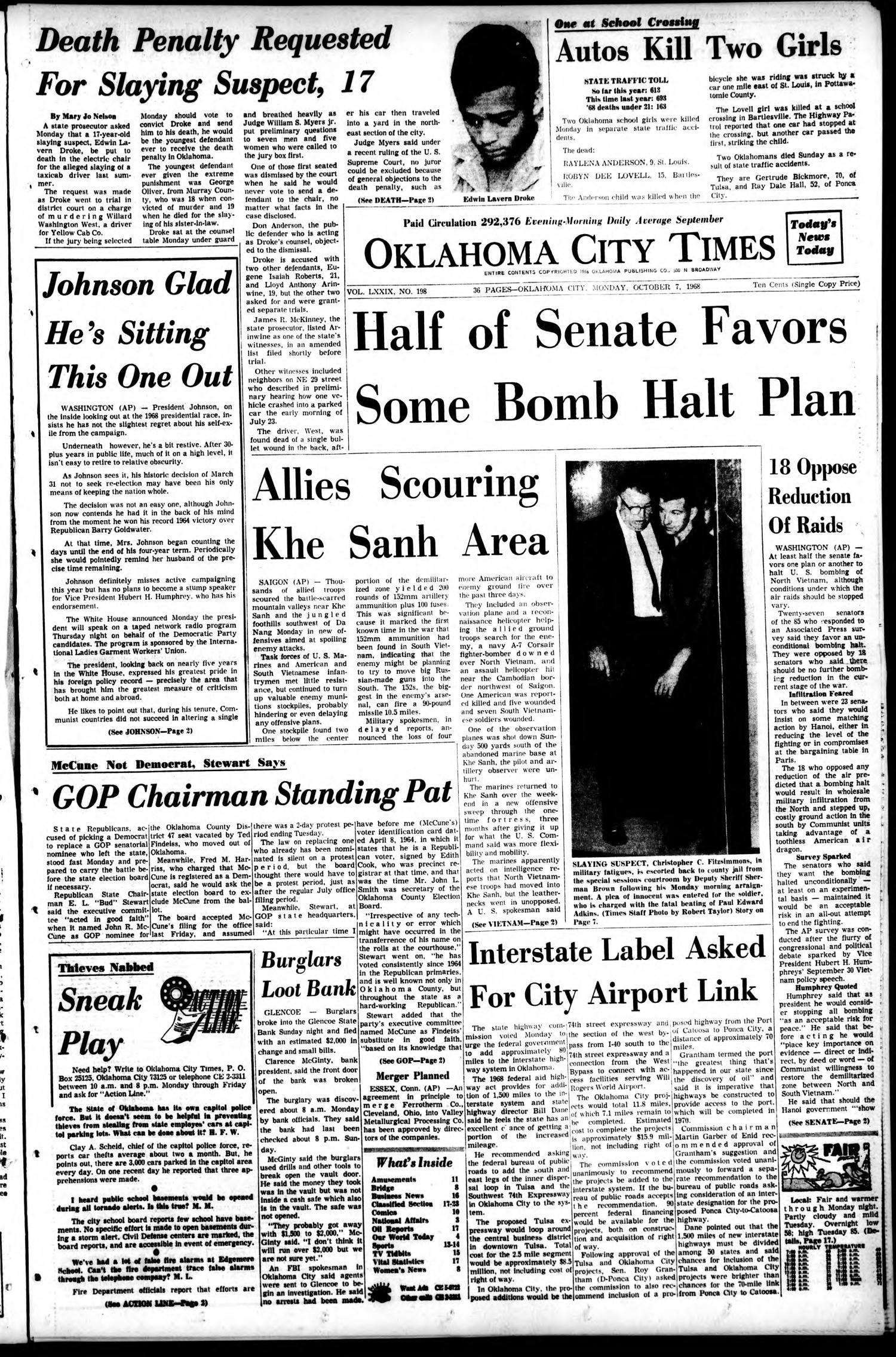 Oklahoma City Times (Oklahoma City, Okla.), Vol. 79, No. 198, Ed. 1 Monday, October 7, 1968                                                                                                      [Sequence #]: 1 of 36