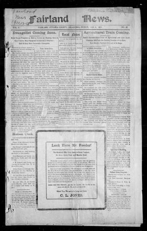Primary view of object titled 'Fairland News. (Fairland, Okla.), Vol. 3, No. 42, Ed. 1 Friday, January 6, 1911'.