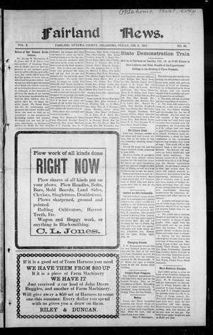 Primary view of object titled 'Fairland News. (Fairland, Okla.), Vol. 3, No. 46, Ed. 1 Friday, February 3, 1911'.