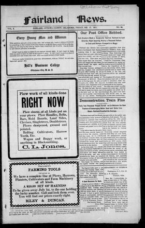 Primary view of object titled 'Fairland News. (Fairland, Okla.), Vol. 3, No. 48, Ed. 1 Friday, February 17, 1911'.