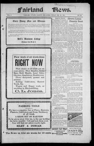 Primary view of object titled 'Fairland News. (Fairland, Okla.), Vol. 3, No. 49, Ed. 1 Friday, February 24, 1911'.