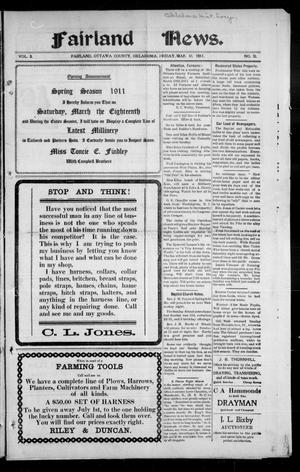 Primary view of object titled 'Fairland News. (Fairland, Okla.), Vol. 3, No. 51, Ed. 1 Friday, March 10, 1911'.
