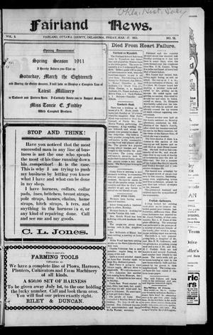 Primary view of object titled 'Fairland News. (Fairland, Okla.), Vol. 3, No. 52, Ed. 1 Friday, March 17, 1911'.