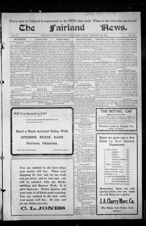 Primary view of object titled 'The Fairland News. (Fairland, Okla.), Vol. 4, No. 49, Ed. 1 Friday, February 23, 1912'.